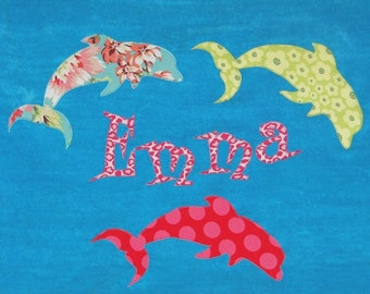 Personalized Large Turquoise Velour Beach Towel with Dolphins, Dolphin Gift, Kids Personalized Towel, Kids Bath Towel, Baby Towel,Camp Towel