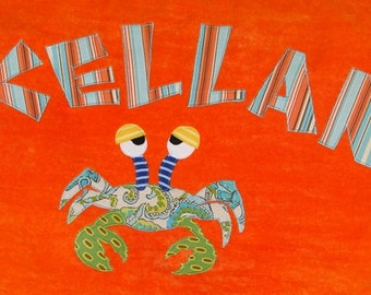 Personalized Large Orange Velour Beach Towel with Funny Crab, Pool Towel, Kids Bath Towel, Camp Towel, Bridal Party Gift, Baby Towel, Swim