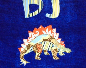 Personalized Large Royal Blue Velour Beach Towel with Stegasaurus, Dinosaur Party, Pool Towel, Camp Towel, Bath Towel, Bridal Party Gift