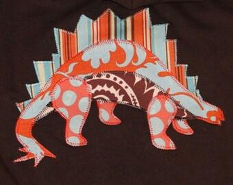 Brown Fleece Lined Hoodie with Stegasaurus, Dinosaur Hoodie, Dinosaur Gift, Stegasaurus Gift, Baby Gift, Bridal Party Gift, Camp Hoodie
