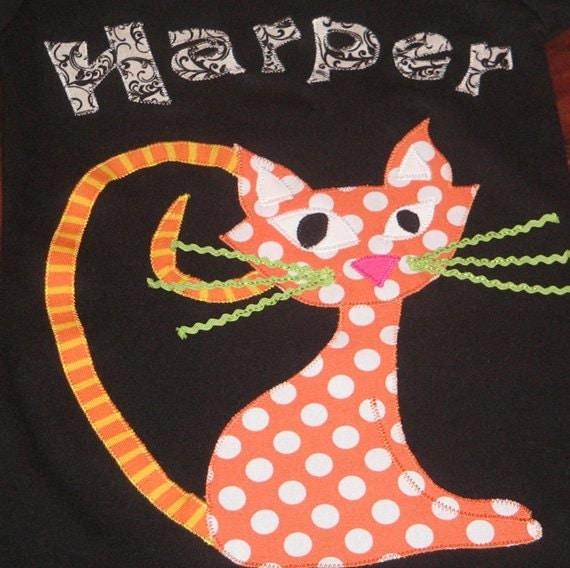 Personalized Black/White Dress with Orange Cat, Cat Dress, Halloween Dress, Halloween Outfit, Halloween Party Dress, Halloween Party
