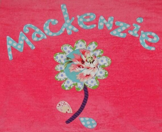 Personalized Large Pink Velour Beach Towel with Funky Flower, Kids Bath Towel, Pool Towel, Camp Towel, College Towel, Baby Towel, Swim Towel