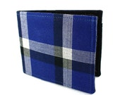 Plaid Wallet - Recycled Blue Cotton Shirt