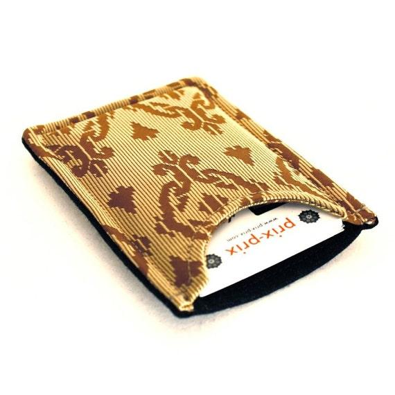 Necktie Card Case - Recycled Retro Gold Tie