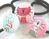 Pink Kitty Trio - Set of Three Ponytail Holders