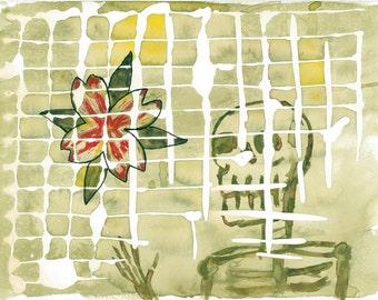 Muerte Verde Watercolor Painting