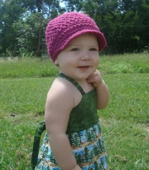 custom colored handmade crocheted children's or adult hat with brim newsboy cap