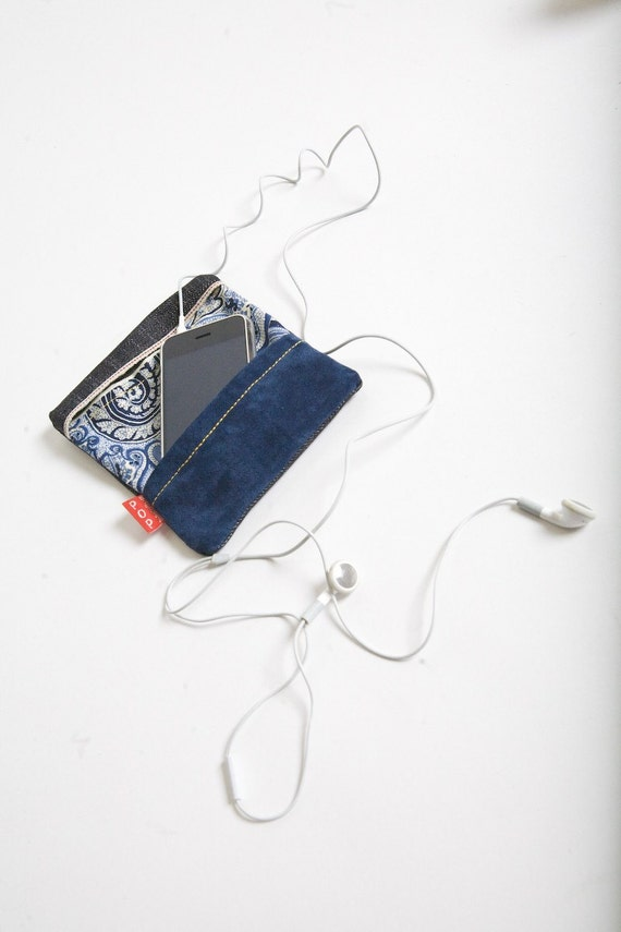Raw Denim iPhone Case with Blue Suede and Blue lining