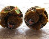 Pandan Mooncakes Clip On Earrings Miniature Food Traditional Ceramic Dessert Sweet Pastry