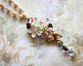 Kitty Running In The Garden (Series I) Necklace Cute Cat Sweet Elegant Flowers Crystals Freshwater Pearls Pendant Swarovski Adorable Meow
