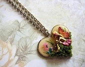 Magical Love Fairy Necklace III Dragonfly Sitting Fae Fay Faerie Realm Fantasy Mystical Magical Nature Flowers Enchanted