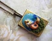 The Book Of Mermaids Necklace II Locket Fantasy Realm Fae Faerie Fay Fairy Ocean Sea Seashells Legend Starfish Pendant Statement Underwater