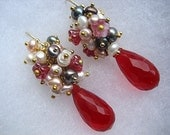 Ruby Earrings Wire Wrapped Cluster Chandelier Dangle Beaded Chic Feminine Red Gold Elegant Princess Glam Glamorous