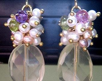 Lemon Quartz Earrings, Lemon Quartz Jewelry, Yellow Dangle Gemstone Earrings, Yellow Summer Earrings, Yellow Bridal Earrings, Yellow Quartz