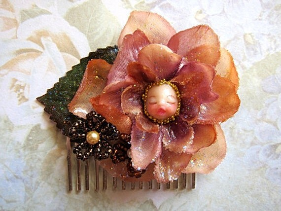 Sparkling Delphinium Flower Fairy Hair Comb Fantasy Face Fae Fay Faerie Nature Natural Party Floral Beaded Glamorous Chic
