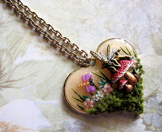 Magical Mushroom Fairy Necklace III Faerie Fay Fae Faerie Realm Fantasy Nature Mystical Jewelry Pendant Simple Love Flowers Resin Statement