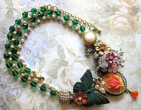 RESERVED FOR DEBORAH - Frog Paradise With Butterfly And Nature Necklace Swarovski Crystals Bib Statement Green Glamorous