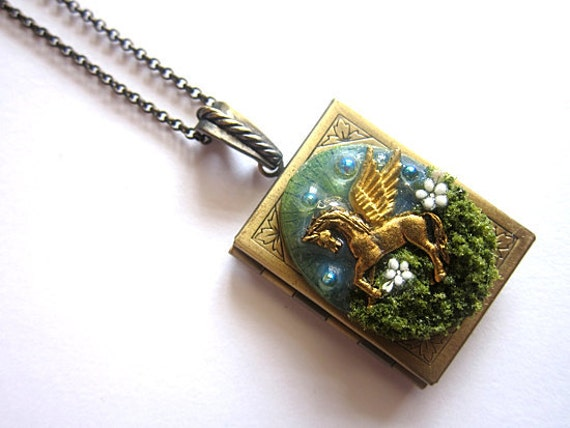 The Book Of Pegasus Necklace Locket Fantasy Realm Orbs Fae Faerie Fay Fairy Legend Pendant Statement Forest Nature