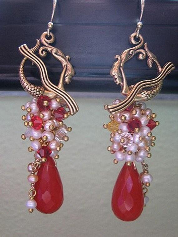SALE PRICE BEFORE 10 PERCENT DISCOUNT - Red Little Mermaid Earrings