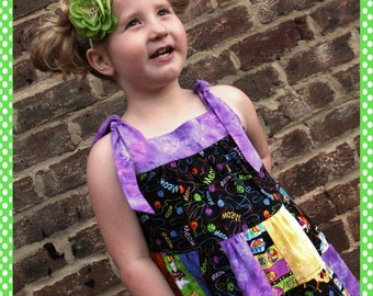 Clearance Sale Meow Patchwork Sundress for girls size 4 5 Ready to Ship