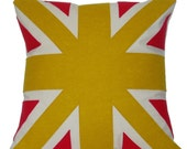 yellow and red UNION JACK CUSHION