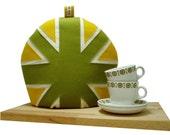 SALE ITEM ..... Green and Yellow Union Jack tea cozy/cosie/cosy  appliqued felt.