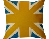 YELLOW AND TURQUOISE UNION JACK CUSHION\/PILLOW