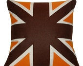 brown and orange UNION JACK CUSHION