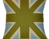 green and light blue UNION JACK CUSHION\/PILLOW