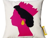 QUEEN  Cushion/pillow     Pink, Black & Yellow appliqued felt on natural cotton background.