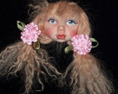 OOAK Small Brat Child, Polymer Art DOll FACE CAB, with bows
