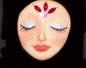 OOAk Sleepy Dream Goddess, Beaded Works, Art Doll face CAB
