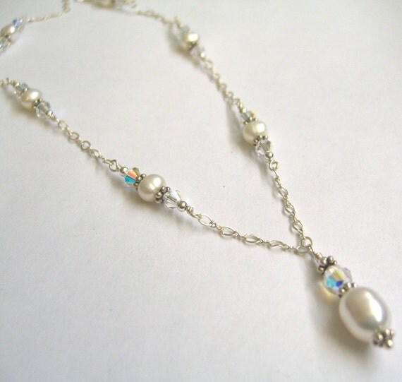 Pearl and Crystal Wedding Necklace