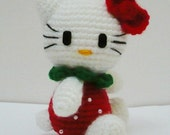 Amigurumi Hello kitty in Stawberry Costume.