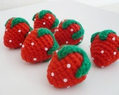 Set of 6 hand crocheted strawberries.