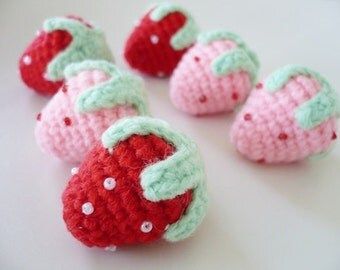 Set of 20 hand crocheted strawberries.