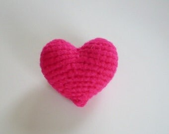 Valentine Crochet 3D Puff Heart Brooch/ Pin.