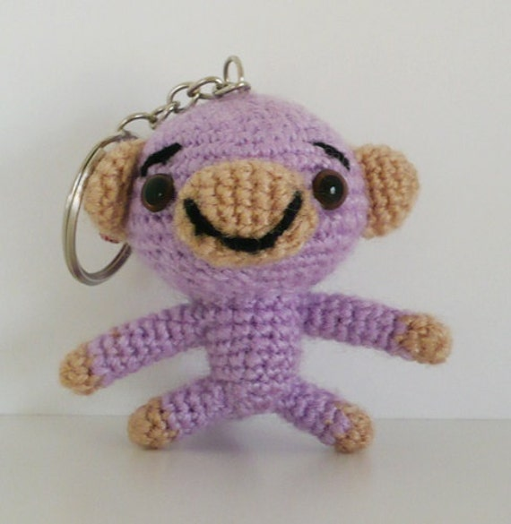 Amigurumi little monkey keychain.