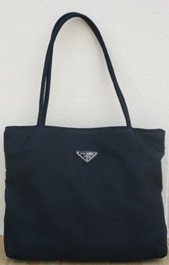 Sale 25% off - Vintage 90's Prada Nylon Tote Bag Black Square Vegan.