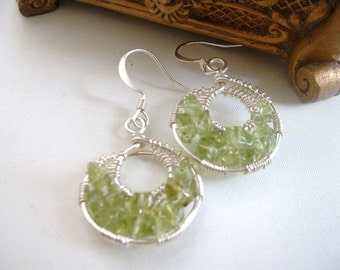 Peridot Gemstone Goddess Wrap Earrings