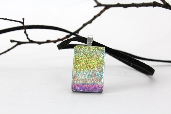 Dichroic Fused Glass Pendant Bright Pastel Golden Dichroic Glass Necklace