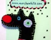 Black Felt Dog Face Brooch