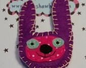 Purple Felt Rabbit Face Brooch