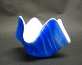 Blue and White Kilnformed Tealight