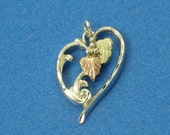 Tri-Color Heart Pendant Sterling Silver and Gold Leaves