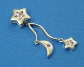 Stars and Moon Sterling Silver and Pink CZ Long Dangle Pendant
