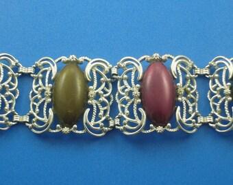 Sarah Coventry Large Multi Color Lucite Cab Bracelet Vintage Silver Blue Green