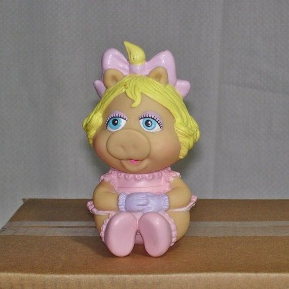 Vintage 1984 Hasbro Vinyl Baby Miss Piggy Muppet Doll Figure