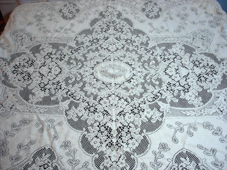Vintage Quaker Lace Cloth No 5180 Tablecloth 56 X 68