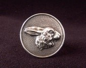Sterling Silver Rabbit Bunny Hare ring made from antique vintage button